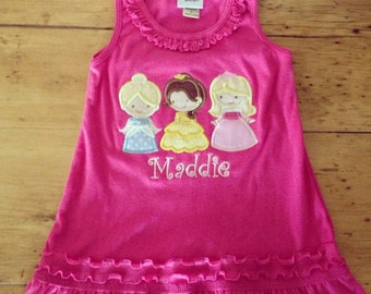 Cutie Princess Appliqued Monogrammed Hot Pink  Ruffle Dress