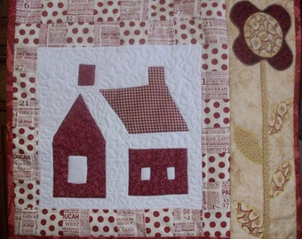 Red House Little Quilt, quilted, appliqued, patchwork, red, carame,l beige, wall hanging, home decor, family room, schoolhouse quilt  block