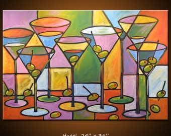 "Art Painting Abstract Modern Dining Room Bar Decor Martini Olives Glasses  ... ""Martinis and Olives"" 24"" x 36"" by Amy Giacomelli"