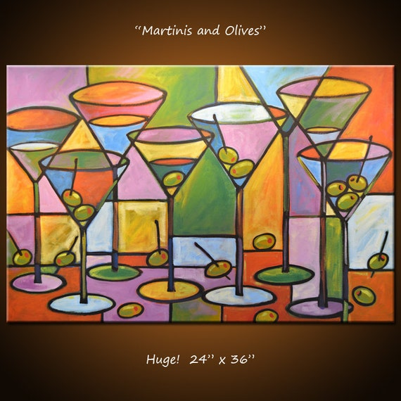 Art Painting Abstract Modern Dining Room Bar Decor Martini