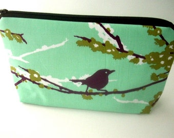 Large Cosmetic Bag Flat bottom Zipper Pouch Padded ECO Friendly Sparrows on Aqua Blue