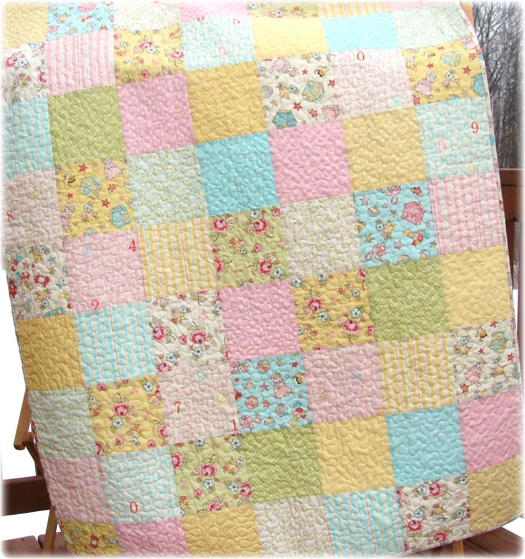 Baby Girl Quilt Patchwork Nursery Bedding Pastel