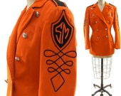 70s Sargent Pepper Marching Band Jacket in Tangerine and Black