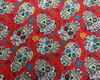 Folkloric Skulls Red Bkg 1 Yard