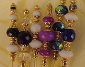 6 Diff Hatpins Assorted Fire Crystal Beads 6 inches long. .We sell hat stick  pin blanks,make your own,findings supplies...S19