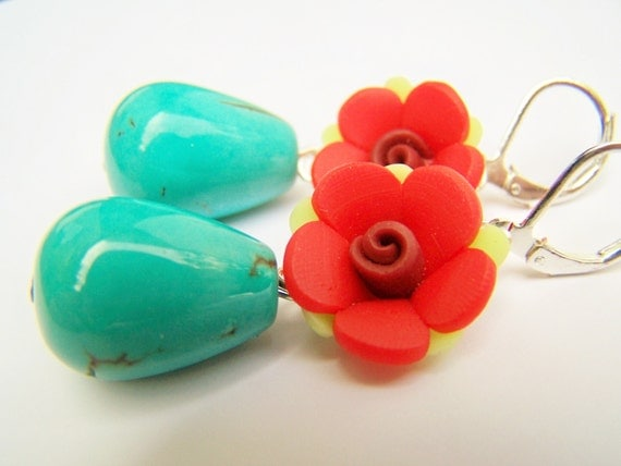 Red & Turquoise Frida Kahlo Earrings - Carmen - Clay Flowers and Stone Drops on Leverbacks