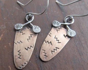 Mixed Metal Earrings Funky Stamped Silver dangling earrings tribal earrings