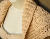 Mocha Cream Knit Shrug, Diamonds & Eyelet Lace size:XLarge  tan brown bolero shrug knitted vest lace wedding bridal evening prom cover-up