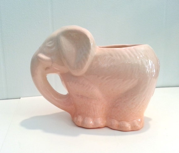 Handmade Ceramic Elephant Planter in Pink and Orange Ombre - OOAK