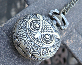 Lil Hooter Bronze Owl Quartz Pocket Watch Necklace Pendant with 28 Inch Bronze Chain
