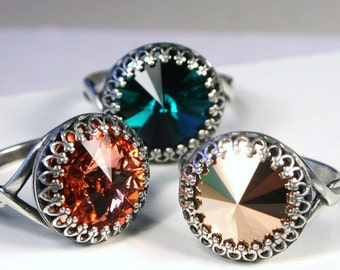 Swarovski Crystal Cocktail Ring Bold Emerald Green Bright Rosaline Salmon Pink or Metallic Rose Gold  - You Choose Color and Finish Crown