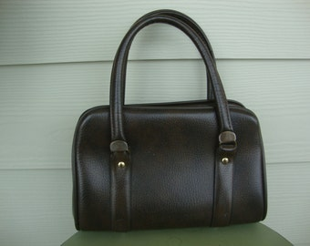 Vintage 60s Chocolate Brown Handbag Purse