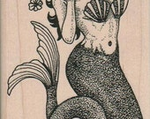 Mermaid With Flower   rubber stamps place cards gifts  wood mounted 3420