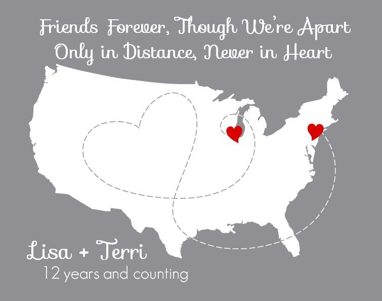 Items Similar To ANY QUOTE, Friends Forever, Long Distance