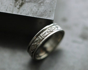 Cherry Blossom Spinner Ring - Handmade in Sustainable Sterling Silver - Made upon order in your size