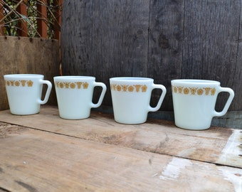 Set of  4 Vintage Milk Glass pyrex Mugs in Butterfly Gold