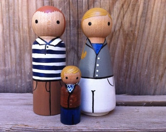 Custom Peg Doll Family of 3 - Peg People painted to match your photo or descriptions