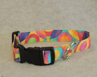 "Large Dog Collar 1"" Wide 16-20"" Colorful Circles"