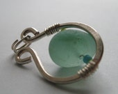 FOAM BLUE OMEGA sea glass pendant by Lake Erie Beach Glass LEbg