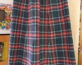Vintage Red Plaid PENDLETON Skirt Lined Wool Hipster Style Sz Small Juniors