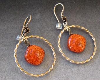 Orange Glass Earrings, Fused Glass Hoop Earrings, Dichroic Fused Glass Hoop  Earrings, Sunset Orange