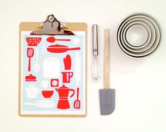 Retro Aqua Blue and Red Kitchen Utensil Decor - Kitchen Print Series