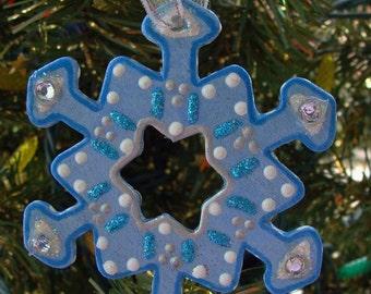 Blue Snow Flake Ornament