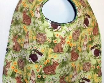 Rabbits in the Garden Baby Bib