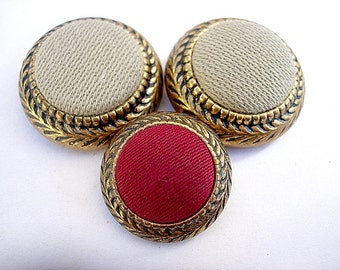 Neat Trio of Vintage Metal and Fabric Centered Buttons