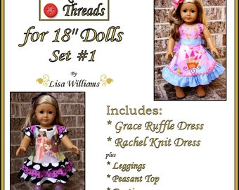 "INSTANT DOWNLOAD: Funktional Threads for 18"" dolls - Set 1 - diy pdf ebook pattern Rachel Knit Dress & Grace Ruffle Dress"