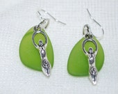 Earth Goddess Earrings on Sea Glass