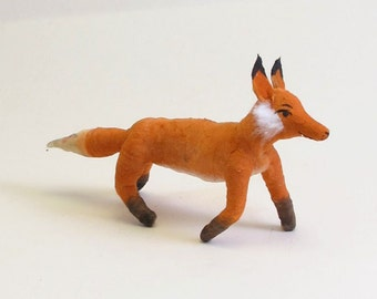 Spun Cotton Vintage Inspired Fox Ornament/Figure