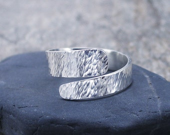Silver Thumb Ring Adjustable, Hammered or Textured Finish
