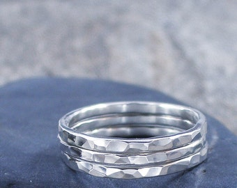 Sterling Silver Stack Rings Hammered Set of 3