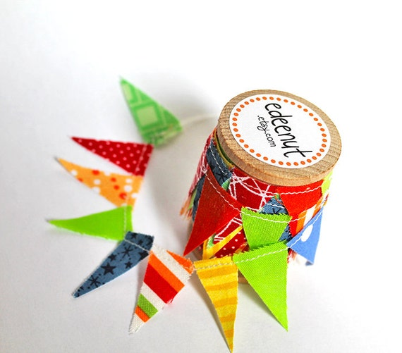 Circus fabric mini Bunting Ribbon on A Wooden Spool, for wrapping packages. Cake stand decoration.
