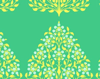 Amy Butler Lark Sateen Collection Henna Trees Yellow Green Modern Cotton Fabric by the yard from Shereesalchemy