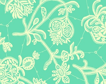 Amy Butler Lark Sateen Collection Heirloom Turquoise White Floral Modern Cotton Fabric by the yard from Shereesalchemy