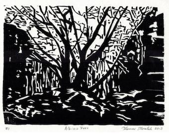 Albizia Trees original hand printed woodcut print