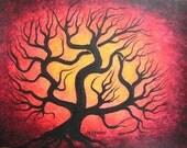 Tree painting, Red twisted tree, Original Acrylic painting by Jordanka Yaretz, TREEARTIST on ETSY