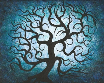 Original fine art, Tree painting, Blue TREE, Curly branches, Acrylic painting by Jordanka Yaretz