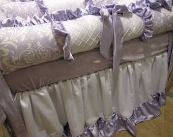 Custom crib Set  white and Lavender Girls  bedding