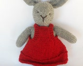 Natural Stuffed Animal Toy, Bunny Rabbit, Lovey, handKnit by Woolies CUSTOM Order for YOU