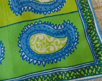 Vintage 60s Vera Neumann Ladybug Signature Vivid Green Blue Paisley Silk Blend Scarf