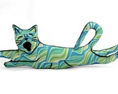 flying cat shaped small pillow green blue yellow modern swirls fabric