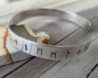 Rune Cuff Bracelet 925 Sterling Silver