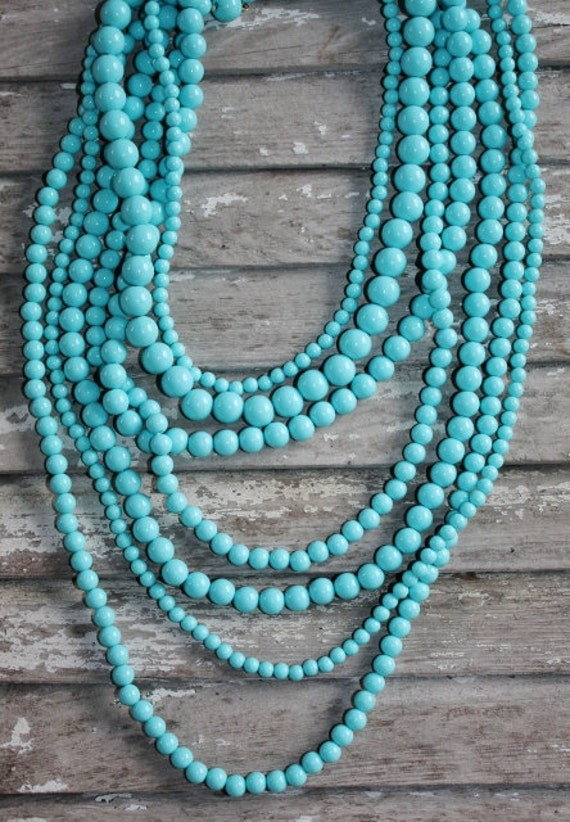 turquoise multi strand statement necklace anthropologie