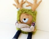 Sawyer the Grumpster - Hand sewn, plush hipster monster