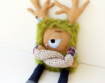 Hand Sewn Plush Hipster Monster, Cute Furry Grumpy Doll, Great Gift, Grumpster by Cutesy but not Cutesy