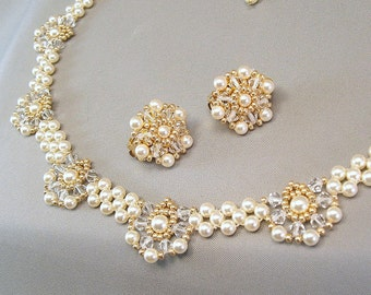 Beaded Wedding Necklace and Earring Set, Cream Pearls and Clear Swarovski Austrian Crystal