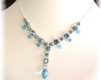 Aquamarine Swarovski Diamante Necklace, turquoise necklace, Sterling Silver, Rhinestones Necklace, Formal Jewelry